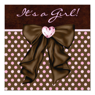 Elegant Pink and Brown Baby Girl Shower Personalized Invite