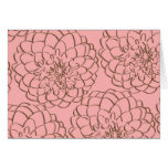 Elegant Pink and Brown Flower Sketch Drawing Stationery Note Card