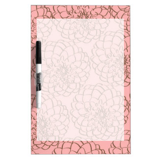 Elegant Pink and Brown Flower Sketch Drawing Dry Erase Whiteboards