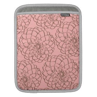 Elegant Pink and Brown Flower Sketch Drawing iPad Sleeve