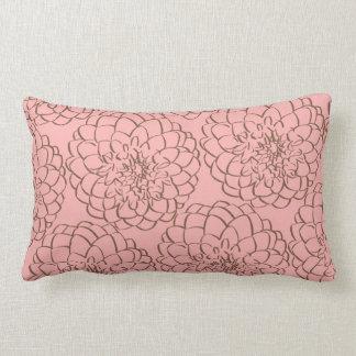 Elegant Pink and Brown Flower Sketch Drawing Lumbar Pillow