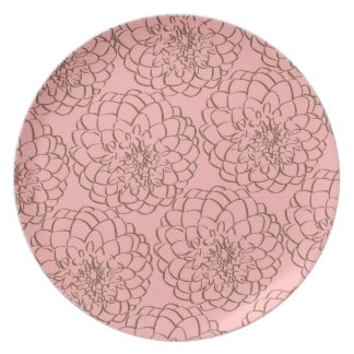 Elegant Pink and Brown Flower Sketch Drawing Party Plate