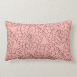 Elegant Pink and Brown Flower Sketch Drawing Throw Pillow