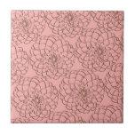 Elegant Pink and Brown Flower Sketch Drawing Ceramic Tiles