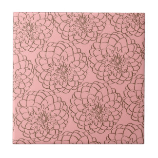 Elegant Pink and Brown Flower Sketch Drawing Tile