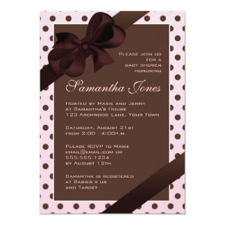 Elegant Pink and Brown Polka Dot Baby Shower 5x7 Paper Invitation Card
