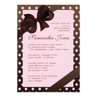 Elegant Pink and Brown Polka Dot Baby Shower Card