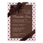 Elegant Pink and Brown Polka Dot Baby Shower Personalized Announcement