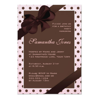 Elegant Pink and Brown Polka Dot Birthday Party Personalized Invitations