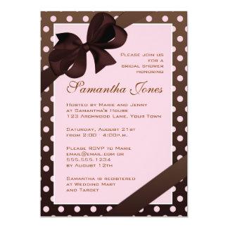 Elegant Pink and Brown Polka Dot Bridal Shower Custom Invitations