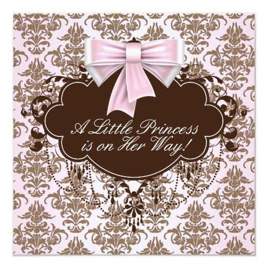 Elegant Pink and Brown Princess Baby Shower Card