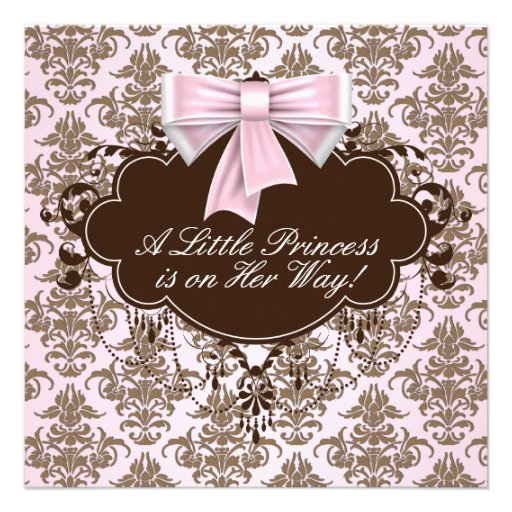 elegant pink and brown princess baby shower square paper