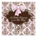 Elegant Pink and Brown Princess Baby Shower 5.25x5.25 Square Paper Invitation Card