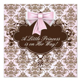Elegant Pink and Brown Princess Baby Shower Custom Announcements