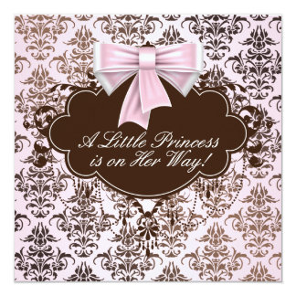 Elegant Pink and Brown Princess Baby Shower Invitation
