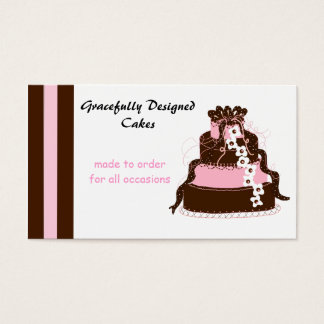 Elegant Pink and Chocolate Cake Business Card