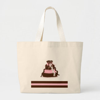 Elegant Pink and Chocolate Cake Large Tote Bag