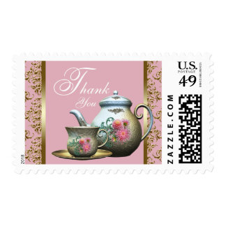 Elegant Pink and Gold Bridal Tea Thank You Postage