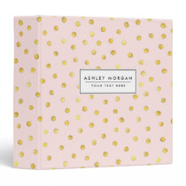 Elegant Pink And Gold Foil Confetti Dots Pattern 3 Ring Binder