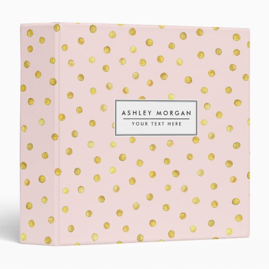 Elegant Pink And Gold Foil Confetti Dots Pattern 3 Ring