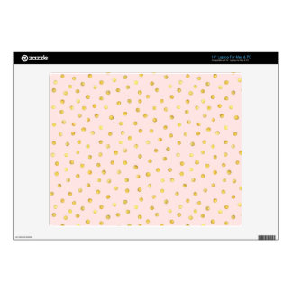 """Elegant Pink And Gold Foil Confetti Dots Pattern Decals For 14"""" Laptops"""