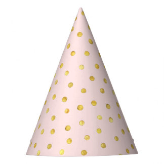 Elegant Pink And Gold Foil Confetti Dots Pattern Party Hat