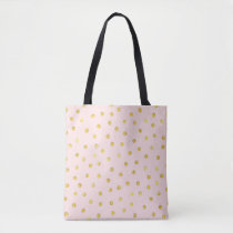 Elegant Pink And Gold Foil Confetti Dots Pattern Tote Bag