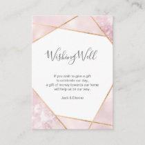 Elegant pink and gold geometric wishing well card