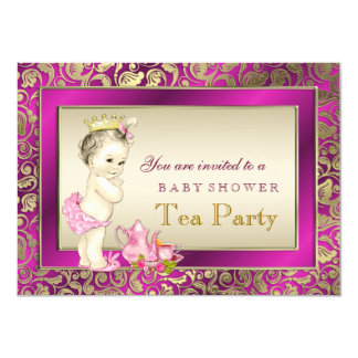 Elegant Pink and Gold Girls Tea Party Baby Shower Card