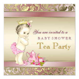 Elegant Pink and Gold Girls Tea Party Baby Shower 5.25x5.25 Square Paper Invitation Card