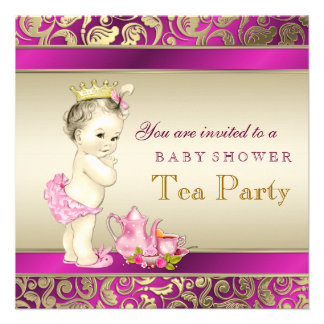 Elegant Pink and Gold Girls Tea Party Baby Shower Custom Invite