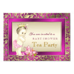 Elegant Pink and Gold Girls Tea Party Baby Shower Personalized Invitation