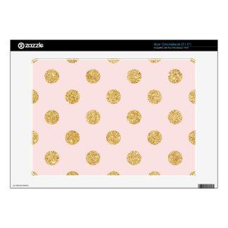 Elegant Pink And Gold Glitter Polka Dots Pattern Acer Chromebook Skin
