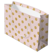 Elegant Pink And Gold Glitter Polka Dots Pattern Large Gift Bag