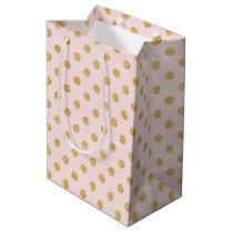 Elegant Pink And Gold Glitter Polka Dots Pattern Medium Gift Bag