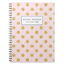Elegant Pink And Gold Glitter Polka Dots Pattern Notebook