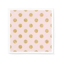 Elegant Pink And Gold Glitter Polka Dots Pattern Paper Napkin
