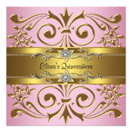 Elegant Pink and Gold Quinceanera Invitations