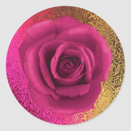 Elegant Pink and Gold with Rose Sticker