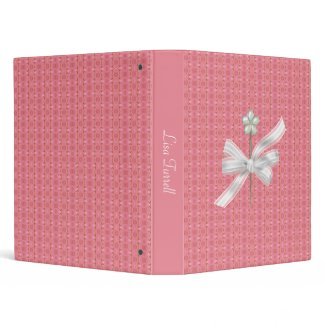 Elegant Pink and Gold with White Bow Binder