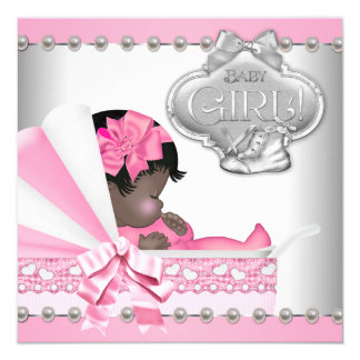 """Elegant Pink and Gray African American Baby Shower 5.25"""" Square Invitation Card"""
