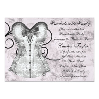 Elegant Pink and Gray Bachelorette Party 5x7 Paper Invitation Card