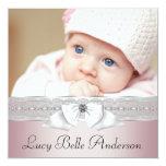 "Elegant Pink and Gray Birth Announcements 5.25"" Square Invitation Card"