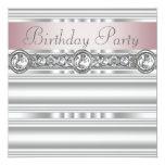 Elegant Pink and Gray Birthday Party Invites