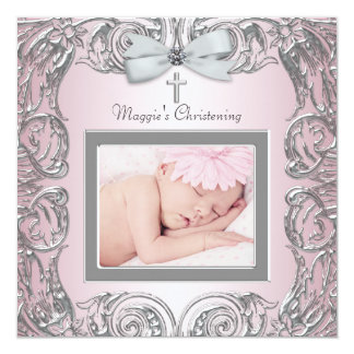 Elegant Pink and Gray Christening Invitations