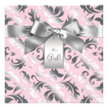 Elegant Pink and Gray Damask Baby Shower Announcement
