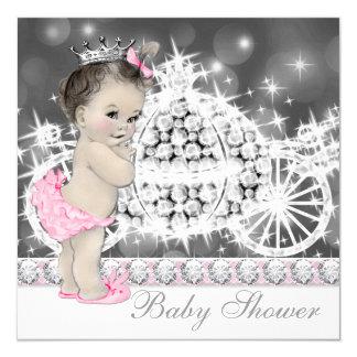 Elegant Pink and Gray Princess Baby Shower Card