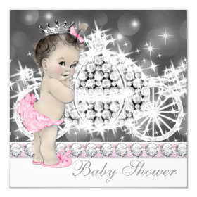 Elegant Pink and Gray Princess Baby Shower 5.25x5.25 Square Paper Invitation Card