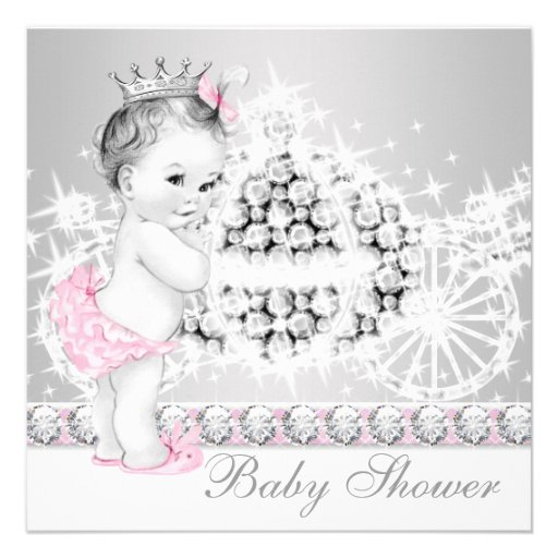 Elegant Pink and Gray Princess Baby Shower Custom Announcement