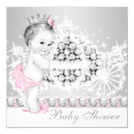 "Elegant Pink and Gray Princess Baby Shower 5.25"" Square Invitation Card"